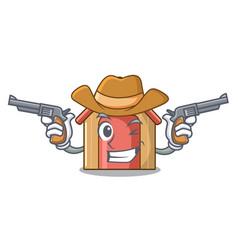Cowboy cartoon funny dog house with dish vector