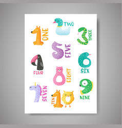 cute animal numbers from 1 to 10 nursery poster vector image