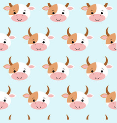 cute cow seamless pattern funny background for vector image