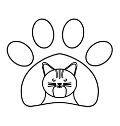 cute little cat in pawprint character vector image