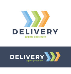 delivery three arrow logo colorful line style vector image