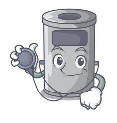 doctor steel trash can with lid cartoon vector image