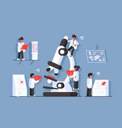 doctors with microscope in laboratory vector image