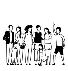 Family and kids cartoon black and white vector