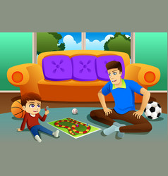 Father and son playing board game at home vector