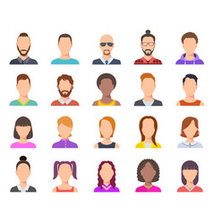 flat avatars male and female heads business vector image