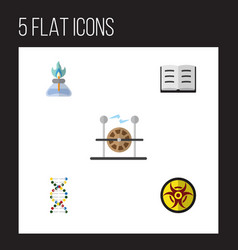 Flat science set of genome flame electrical vector