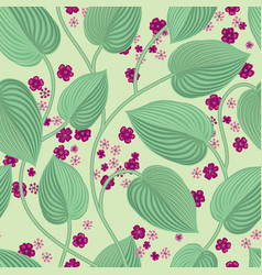 floral seamless pattern leaves and flowers garden vector image