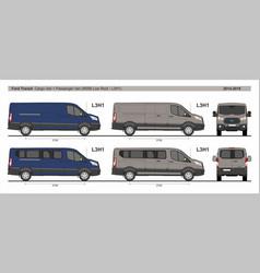 Ford transit l3h1 four type vans set 2014-present vector