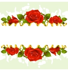 frame whit red roses vector image