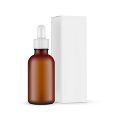 Frosted dark glass dropper bottle with box side vector