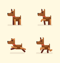 funny little dog set in different poses brown vector image