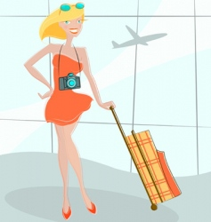 Girl waiting at airport vector