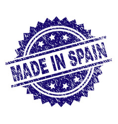 grunge textured made in spain stamp seal vector image
