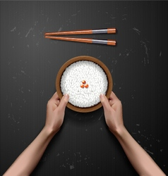 hands holding Bowl of white rice vector image vector image