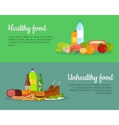 Healthy and Unhealthy Food Banner Poster vector image