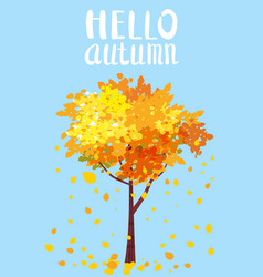hello autumn lettering autumn tree with sending vector image