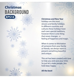 Holiday background with snowflakes vector image