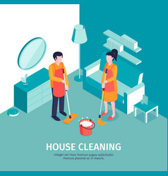 house cleaning isometric background vector image