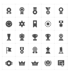 icon set - trophy and awards filled style vector image