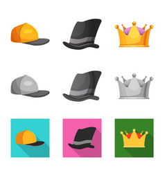 isolated object of headwear and cap symbol set of vector image