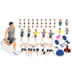 Isometric create sporty inflated man hairstyles vector
