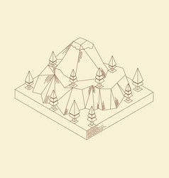 isometric mountain line art vintage vector image