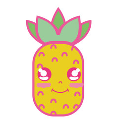 Kawaii cute happy pineapple fruit vector
