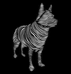 Line art dog on a black vector