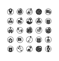location and map solid icon set vector image