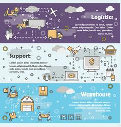 logistics concept flat line art banner set vector image