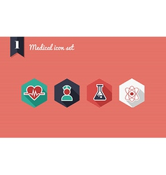 Medical health flat icons set vector image