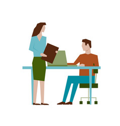 meeting concept in flat design rectangular style vector image