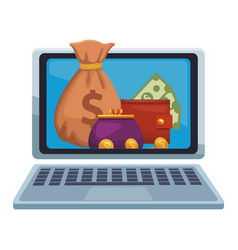 money online from laptop vector image