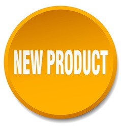 New product orange round flat isolated push button vector