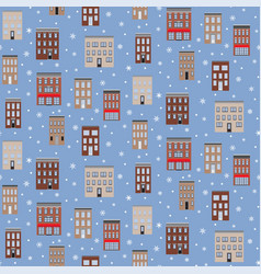 old houses winter seamless pattern flat vector image