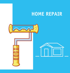 Paint roller with home repair icons vector