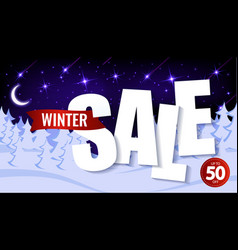 paper text winter sale up to 50 percent on the vector image