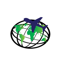 planet map and plane around world for logo vector image
