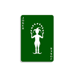 Playing card with joker in green design vector