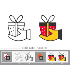 present box on hand give surprise gift line icon vector image