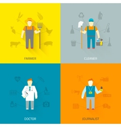 Profession characters 4x4 icons composition flat vector image
