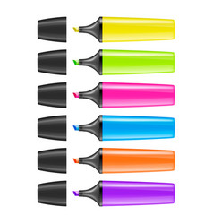 Realistic highlighter pen icon set isolated vector