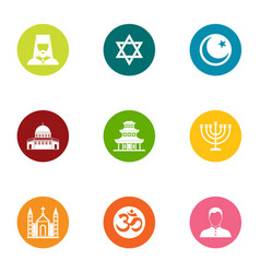 Religion east icons set flat style vector
