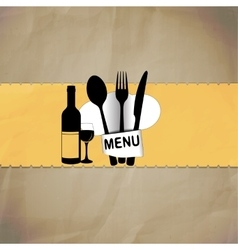 restaurant menu with chef hat line vector image