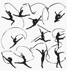 rhythmic gymnastic ribbon silhouettes vector image