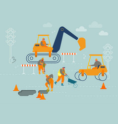 road repair with construction roller machine vector image