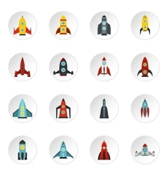 Rocket icons set flat style vector