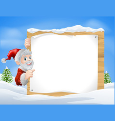 santa christmas sign snow scene vector image