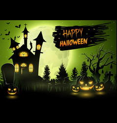 scary church with pumpkins on the full moon vector image